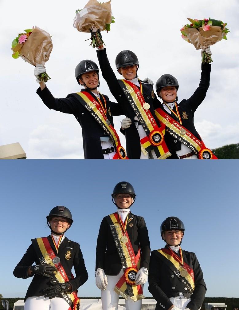 Charlotte Defalque (1ère U25) & Clara Collard (2ème Poney) - Ch B Dressage Hulsterlo 2019
