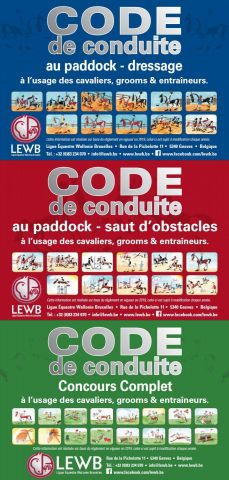 codes de conduite pour le dressage, saut d'obstacles et concours complet