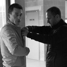 Justin Verboomen en préparation, aidé de Sébastien Boulanger (réalisateur Equi TV)