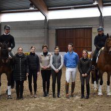 De gauche à droite: Justin Verboomen, Isabell Werth, Antonia Arl, Françoise Hologne-Joux, Amandine Prevost, Simon Missiaen, Charlotte Defalque, Carole Schepens.